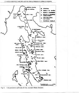 Distribuzione dei caastellieri sull'isola secondo N.Stražičić.